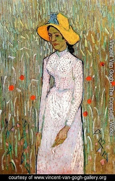 Vincent Van Gogh - Young Girl Standing Against A Background Of Wheat