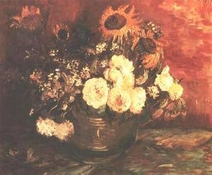 Vincent Van Gogh - Bowl of Sunflowers, Roses and other Flowers