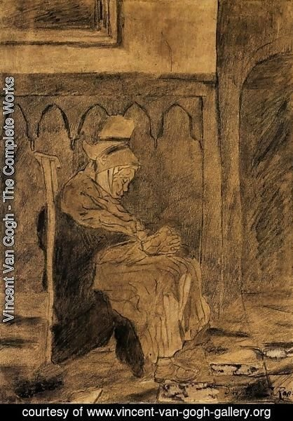 Vincent Van Gogh - Old Breton Woman Asleep in Church